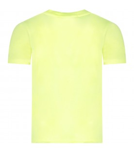 Neon yellow girl T-shirt with sequined logo