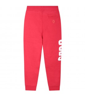 Red boy sweatpants with white logo