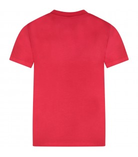 Red kids T-shirt with black logo