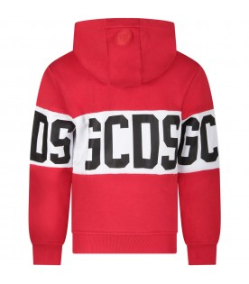 Red kids sweatshirt with black logo