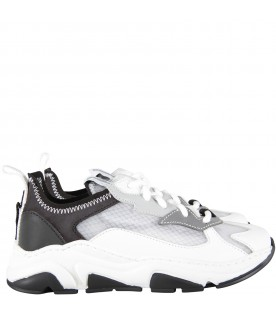 White, black and grey kids sneakers