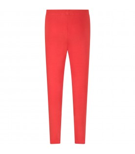 Red girl leggings with white logo