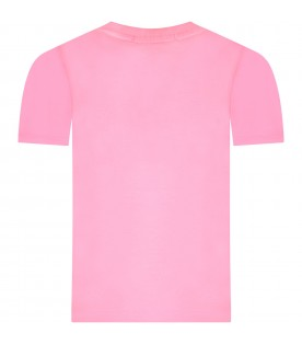 Neon fuchsia girl T-shirt with sequined logo
