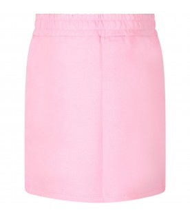 Pink girl skirt with black logo