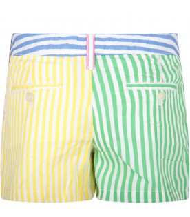 Multicolor girl short with pony logo