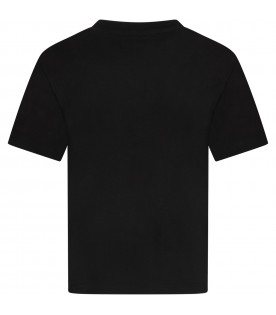 Black kids T-shirt with black and white logo