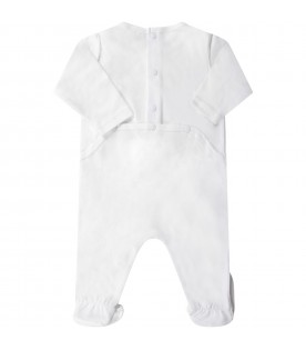 White babyboy babygrow with light blue tiger