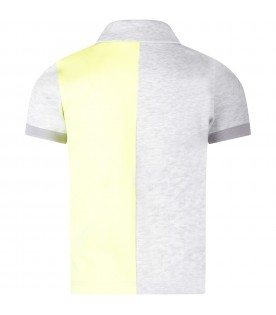 Grey and neon yellow boy polo shirt with logo