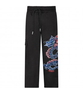 Black pants for boy with dragon