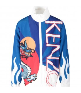 Multicolor boy windbreaker jacket with iconic dragon