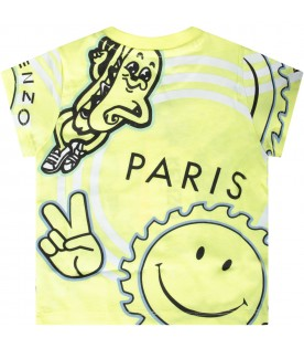 Neon yellow babyboy T-shirt with iconic prints