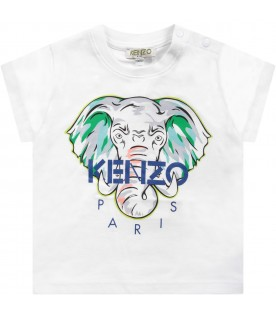 White babyboy T-shirt with colorful elephant