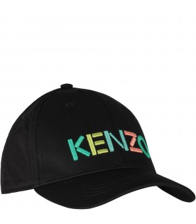 Black kids hat with colorful logo