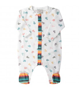 White babyboy suit with colorful dinosaurs