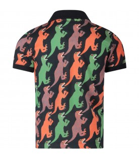 Blue boy polo shirt with dinosaurs