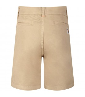 Short beige per bambino con iconic patch