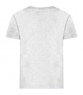 Grey kids T-shirt with double logo