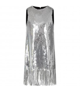 Silver girl dress with sequins