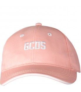 Pink girl hat with white logo