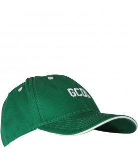 Green kids hat with white logo
