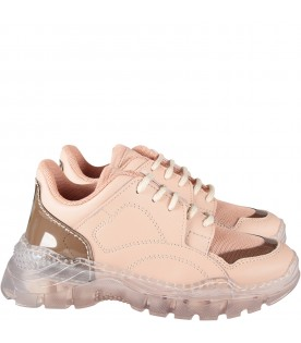 Pink girl sneakers with logo
