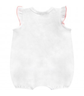 White babygirl romper with neon pink logo