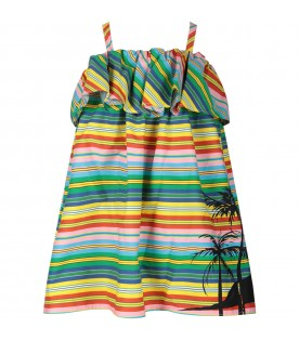 Multicolor dress for girl with palm tree