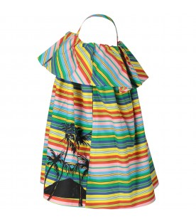 Multicolor girl dress with palm tree