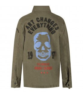 Military green boy jacket with skull