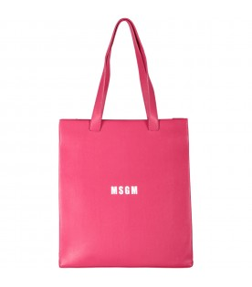 Fuchsia girl bag with logo