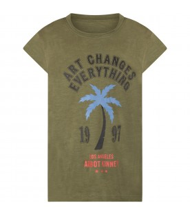 Green girl T-shirt with writing and palm tree
