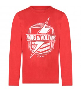 Red T-shirt for boy with logo and thunder