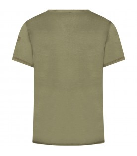 Military green boy T-shirt with writing