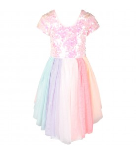 Multicolor girl dress with sequins