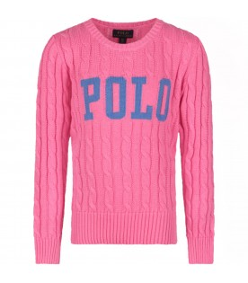 Pink girl sweater with logo