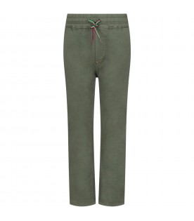 Military green boy pants with iconic patch