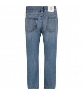 Light blue girl jeans with rhinestoned logo