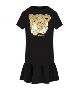 Black dress for girl with gold logo
