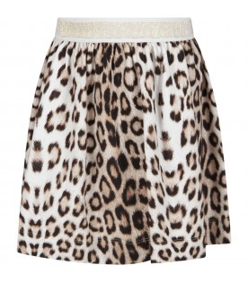 Animalier skirt for girl with logo