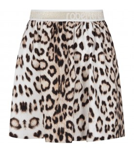 Animalier girl skirt with logo