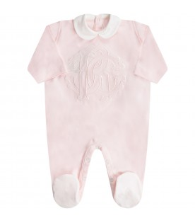 White and pink babygirl set