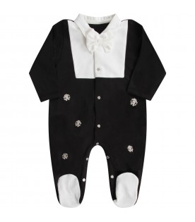 Black and white babyboy babygrow with bow-tie