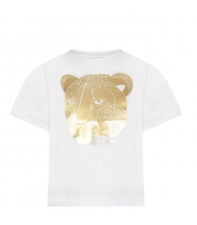 White girl T-shirt with gold logo