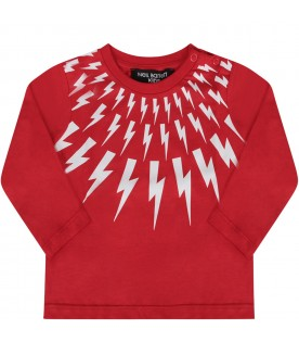 Red T-shirt with white thunders for baby boy