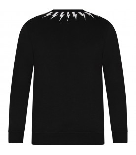 Black kids sweatshirt with white thunders
