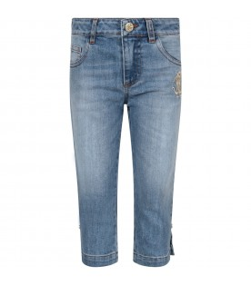 Light blue girl jeans with gold logo