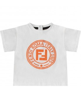 White babykids T-shirt with orange double FF