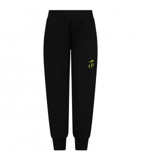 Black sweatpants for boy with neon yellow logo
