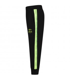 Black boy sweatpants with neon yellow logo