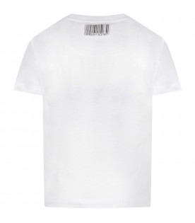 White T-shirt for boy with black logo
